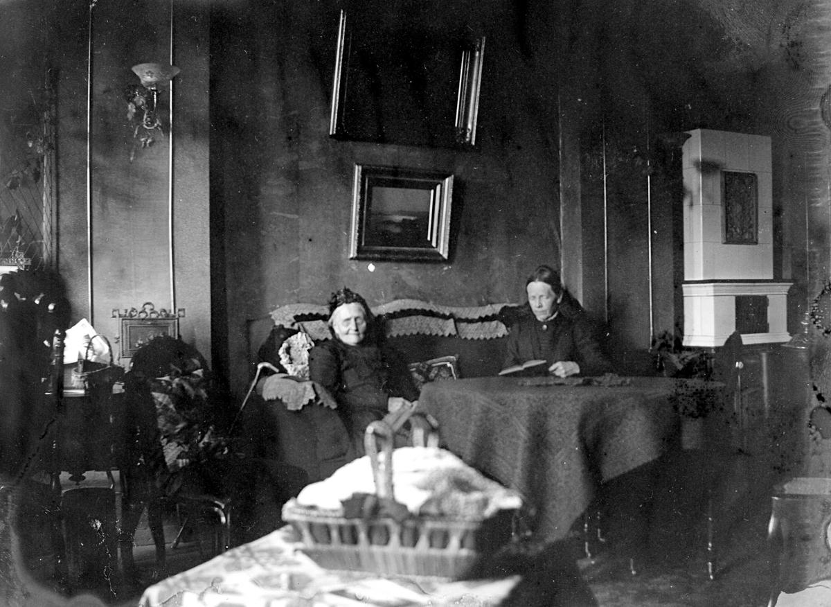 Interiør med 2 kvinner, ant. på kappelangården Bergenhus i Rakkestad hvor fotografens søster Louise var gift med res.kap. Olaf A.Holm (i tjeneste der 1884-97). Den yngste lesende t.h. er muligens Emily Langberg, fotografens eldste søster. Eldre dame t.v. i rikt møblert rom med hvit ovn t.h. Krykke er lent mot sofaen. I forgrunnen kurv på bord. Fra malerinne Juliane Fredrikke Langbergs (1856-1930) samling, tatt ca.1895-1910 med motiver fra slekt og venner samt steder tilknyttet samvær med disse.