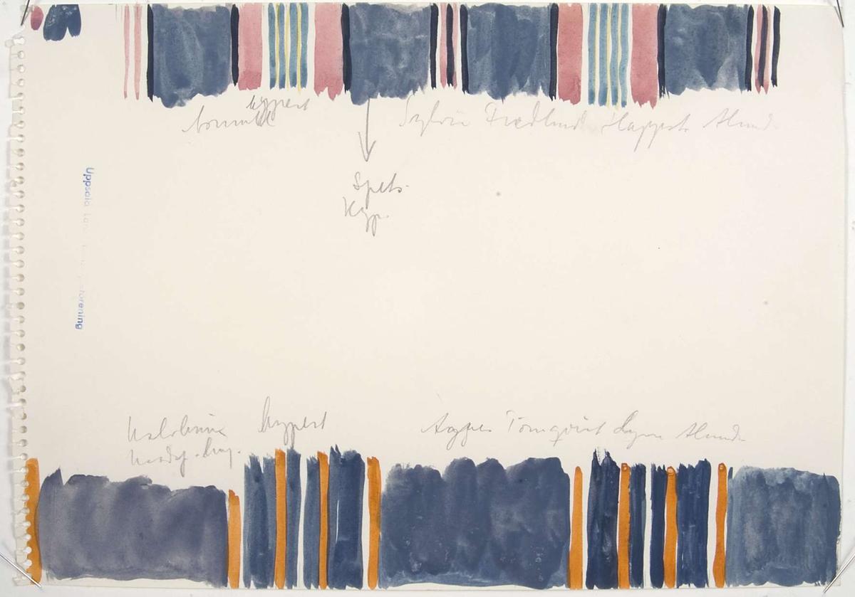 """Ett papper med vattenfärgsskisser av randningen på två gamla bolstervar. Vid ena skissen står """"Sofia Fredlund Happsta Alunda"""" och vid den andra skissen står """"Agnes Törnqvist Lyan Alunda"""". Det finns även anteckningar om bolstervarens vävsätt och material."""