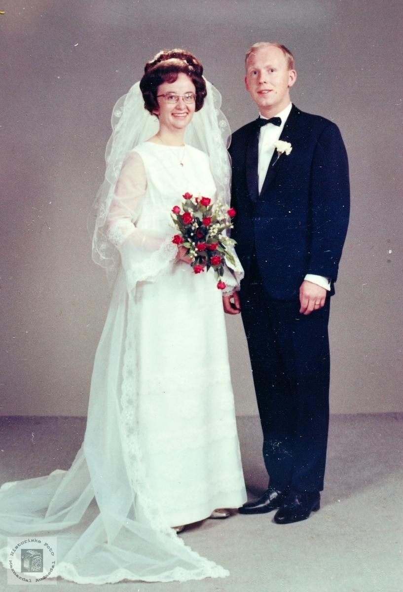 Brudebilde av ekteparet Valand. Audnedal.