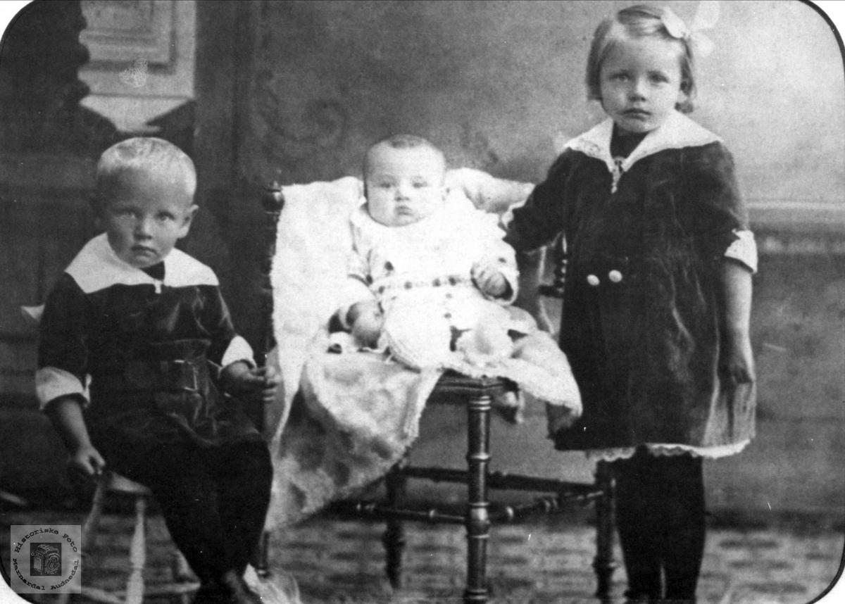 Søsknene Andreas, Olav og Sigrid Vigemyr, Øyslebø.