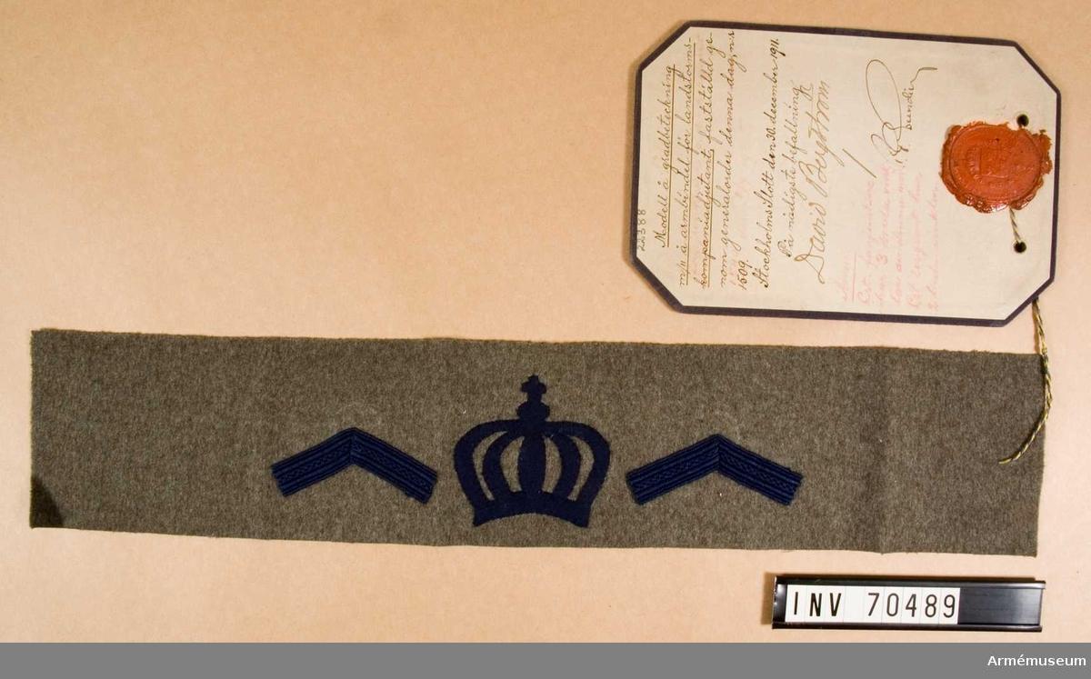 Grupp C.I. I Modell på gradbeteckning m/1911 på armbindel för landstormsfanjunkare och landstormssergeant, fastställd genom generalorder nr 1540 den 6. juli 1935.