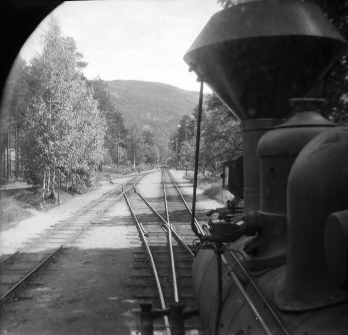 Utsikt fra fyrbøterplassen på lokomotivet. Ved Byglandsfjord stasjon.