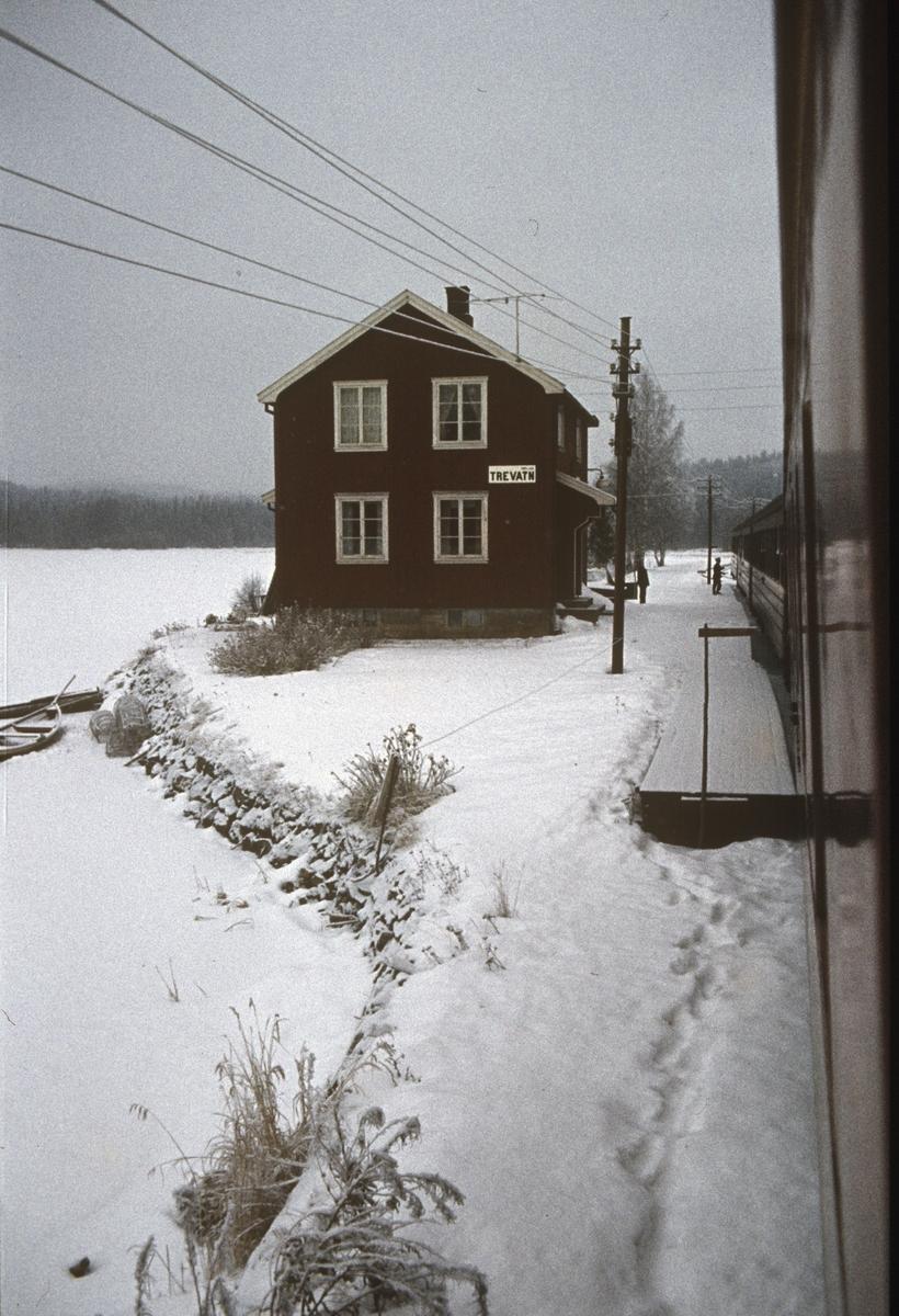 Utsikt fra togvinduet på Trevatn stasjon.