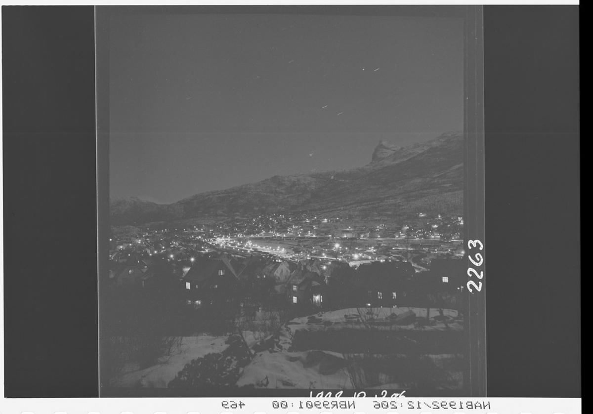 Narvik by sett fra Framnes. Vinter.