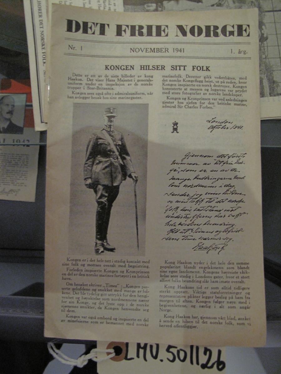 hefte - Det frie Norge nr 1 november 1941 1. årgang