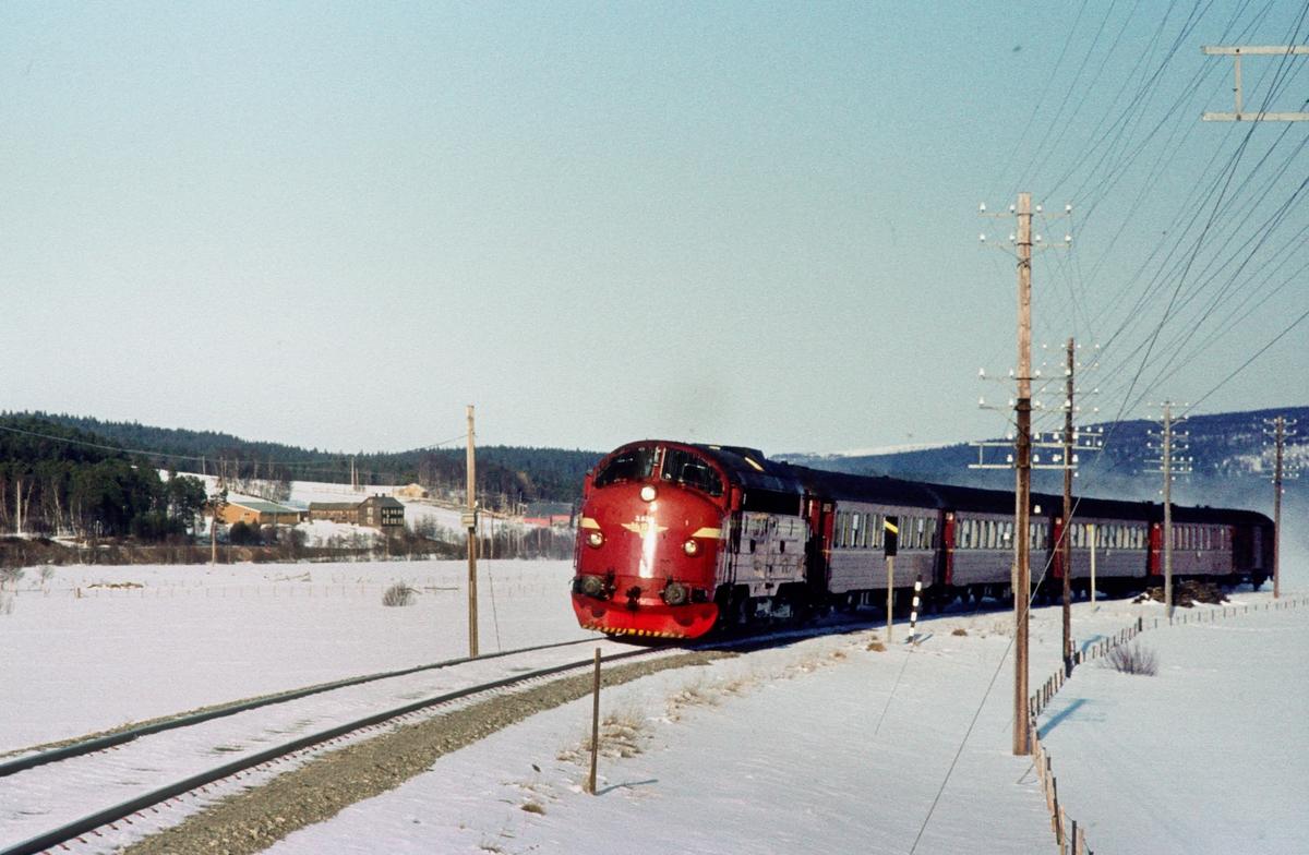 Dagtoget Trondheim - Oslo Ø over Røros, hurtigtog 302, ved Bakos, Os i Østerdalen.