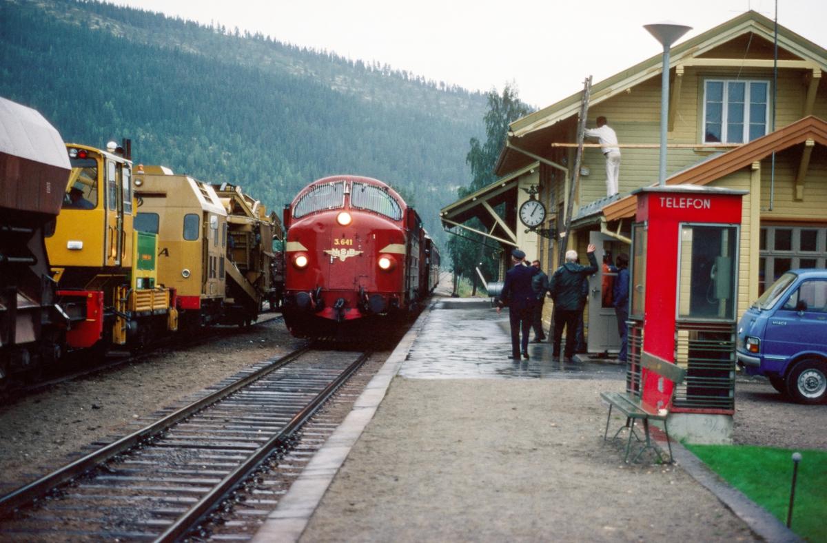 NSBs dagtog Oslo - Trondheim, tog 301, med dieselelektrisk lokomotiv Di 3b 641 kjører inn på Stai stasjon, Østerdalen. Stasjonsmiljø. Togekspeditøren hilser til toget. Arbeidstog i spor 2.