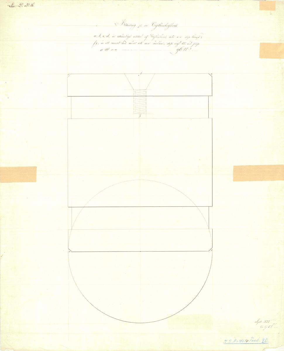 Ritning till ett 24 pundigt cylinderskott av af Chapmans modell