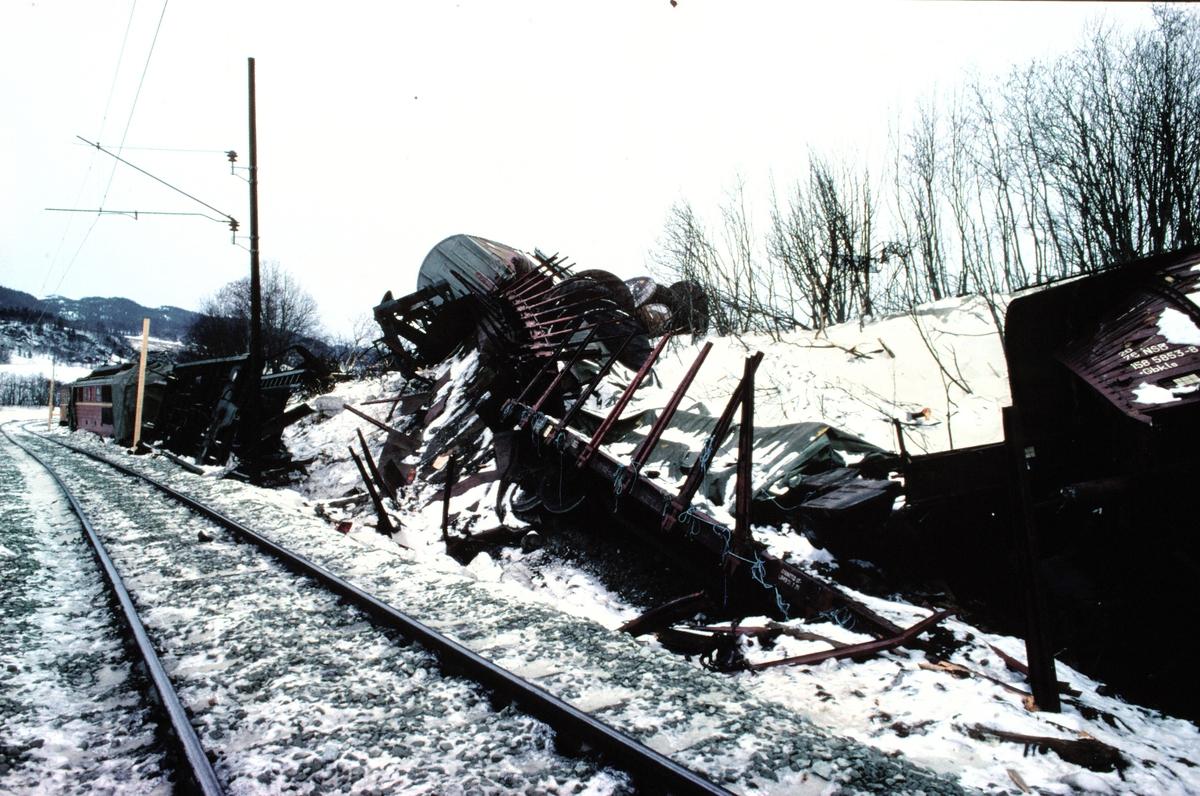 Nypanulykken skjedde 26.februar 1981, da et godstog mistet bremsene og frontkolliderte med et lokaltog. Slik så det ut ca 10 dager etter ulykken. Et provisorisk spor er lagt forbi.