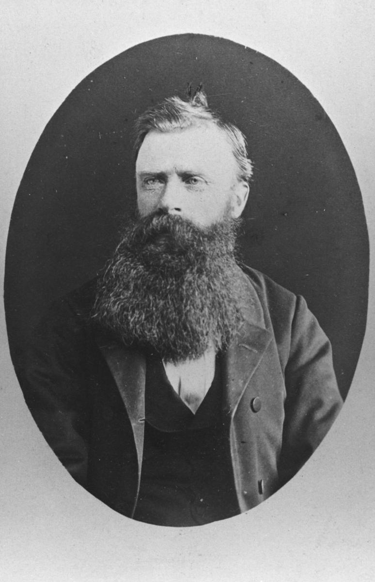 Halvkropsportrett av en eldre mann med lang mørk skjegg og bart. Bildet er kopiert i ovalform