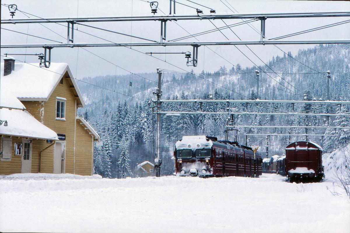 Persontog og godstog krysser i Sandermosen stasjon.