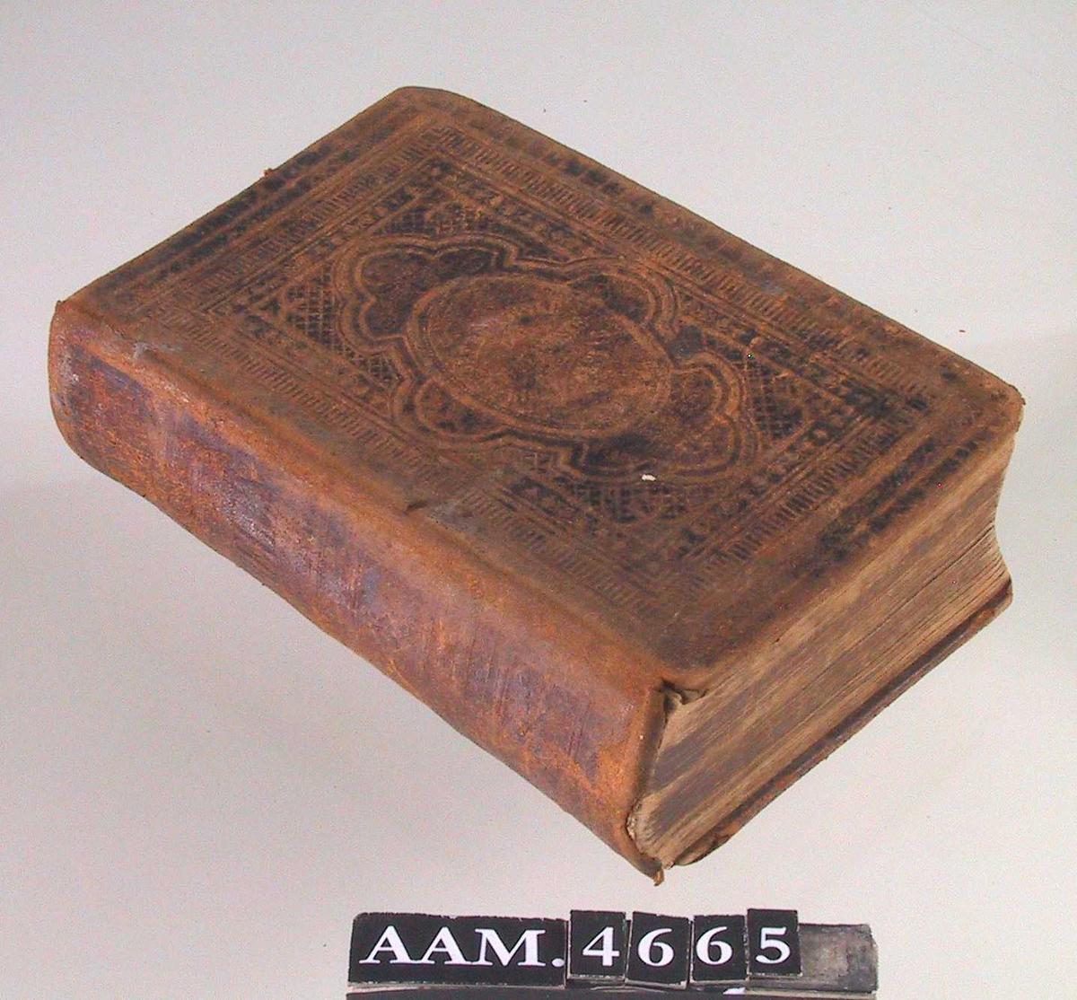 Bibelen,  eller  Den hellige Skrift,  indeholdende det Gamle og det Nye Testamentes canoniske Bøger.  Chra. 1879, 1196  Innbundet i brunt  skinnbind, som har vært sortmalt  (rester på forsiden).