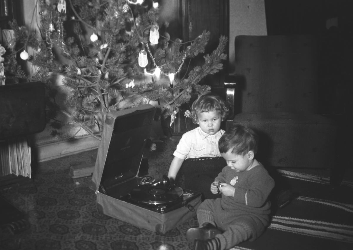 Jul hjemme hos familien Hauge under krigen. Til venstre sitter Øystein Hauge, ved siden av sitter Rolf Hauge.