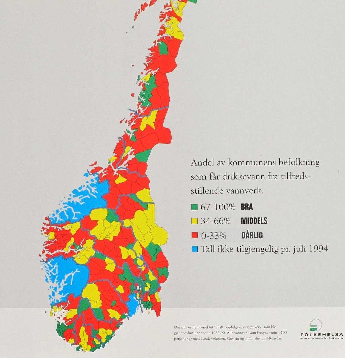 Kart over Sør-Norge med kommuner klassifisert etter kvaliteten på  drikkevann.