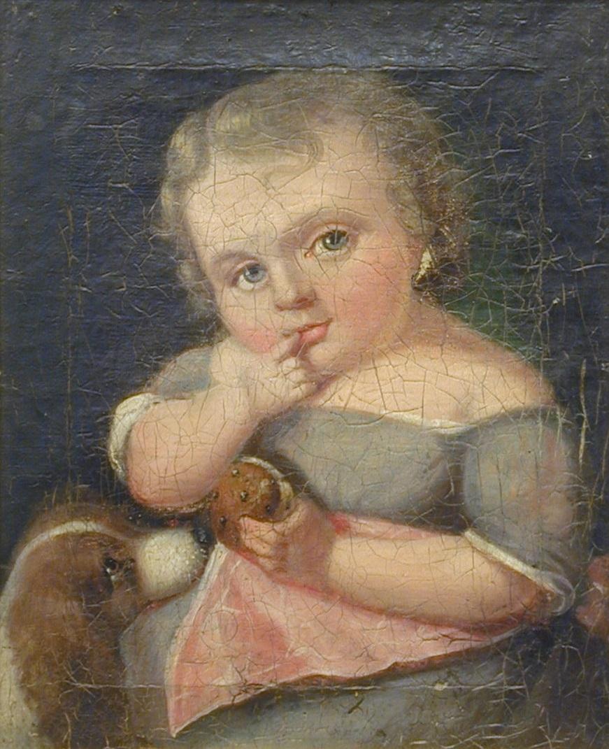 Barneportrett. Liten pike i grå kjole med rosa forkle, en face mot venstre. Sitter med høyre pekefinger i munnen, en kake i venstre hånd. Et hundehode nederst til venstre. Mørk nøytral bakgrunn. Usignert.