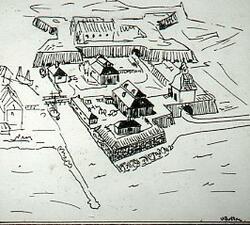 Tyggården med Jönköpings slott i bakgrunden. Skiss.