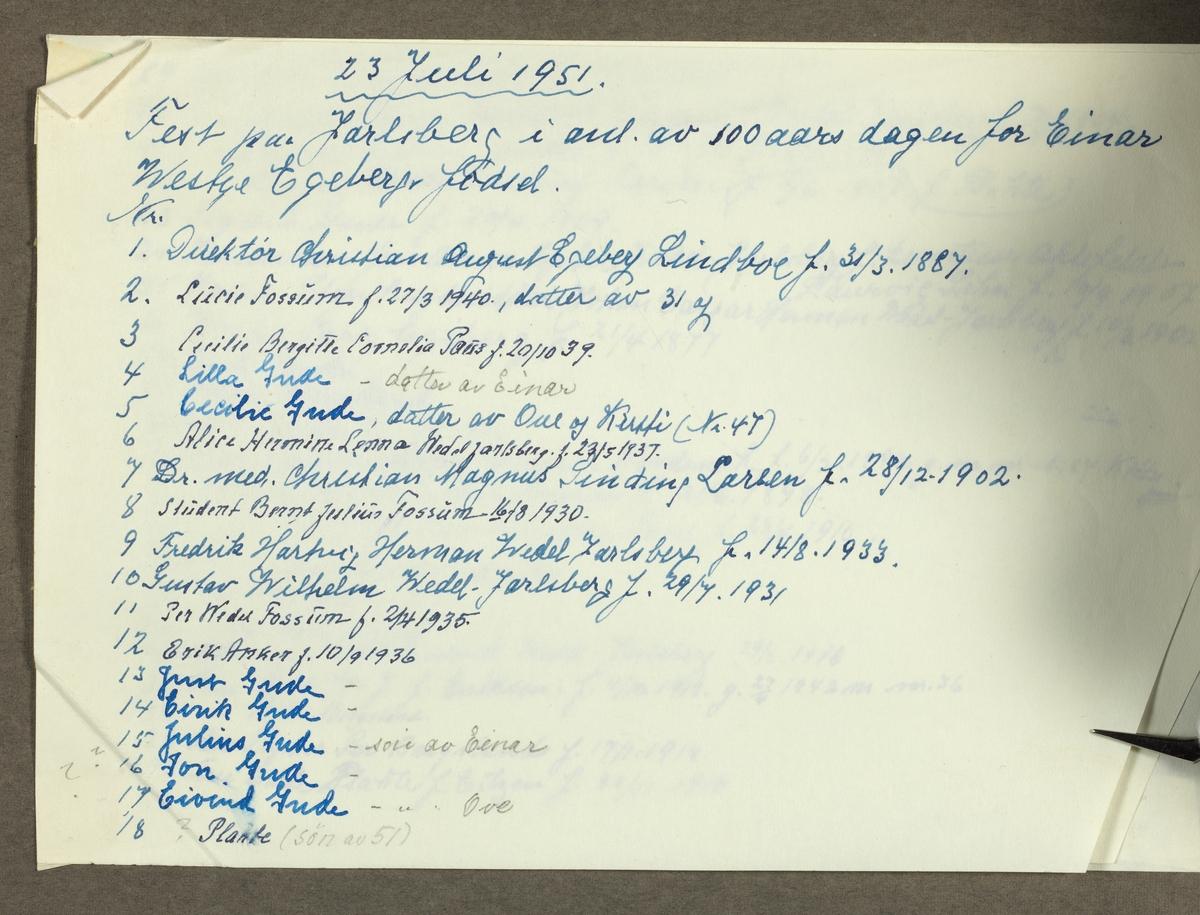 Fest på Jarlsberg hovedgård i anledning av 100-årsdagen for Einar Westye Egebergs fødsel. Deltakere fra familiene Egeberg, Wedel-Jarlsberg, Gude, Plathe, Bergsland, Anker, Fossum og Sinding-Larsen. Fotografert 23. juli 1951.