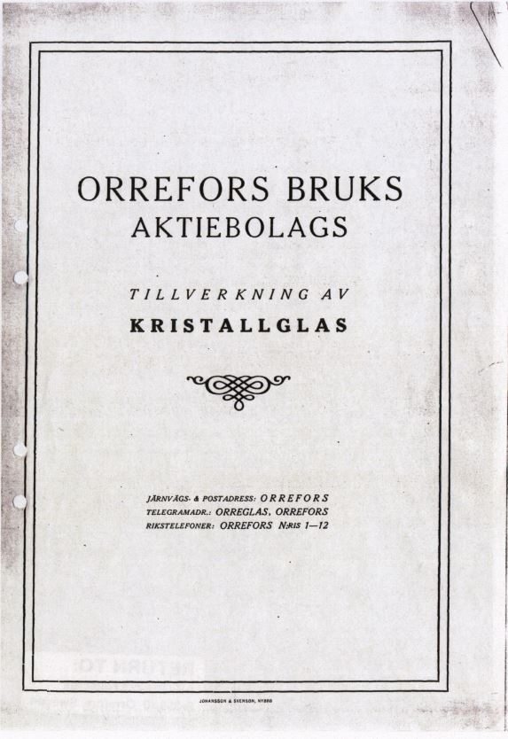 "Priskurant kristallglas Orrefors glasbruk 1920: ""Orrefors Bruks Aktiebolag Tillverkning av Kristallglas"" Nedladdningsbar under ""Länkade filer""."