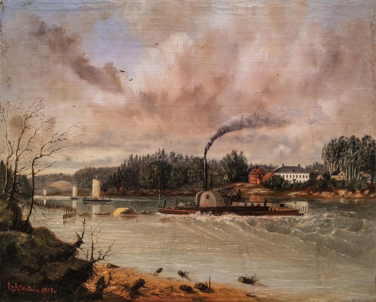 Färjestads gård vid Klarälven [Oljemålning]
