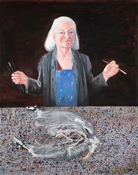 Självporträtt med penslar [Målning]