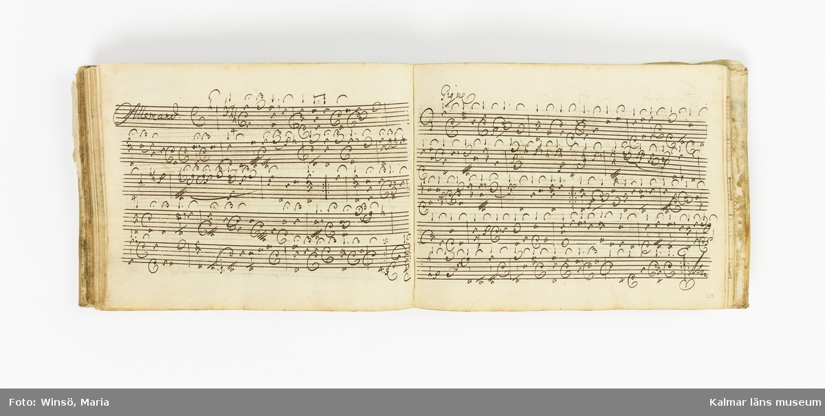 KLM 21072. Notbok, handskrift. 139 blad (278 sidor). Tvärformat. Pergamentband med kantränder och präglat mittornament. Pärm av trä fodrad med lumppapp och klädd med pergament på utsida. Pärmens kortsidor försedda med hål för att kunna knytas ihop med band eller snöre. På pärmens insida: Otto Fred Stålhammar Stockh: 1715. På försättsbladet en handskriven vers som börjar med: Min lust är min glädje... På försättsbladets andra sida handskriven instruktion för Violins Incipienten (5 sidor). Därefter 209 musikstycken eller satser för luta skrivna med en särskild notation, s.k. tabulatur.