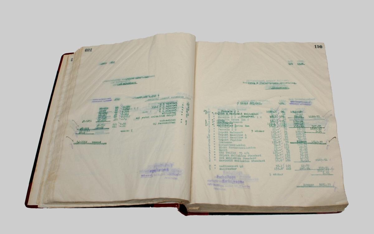 Kopie-Bok, med pärm i rött och svart. Innehåller räkenskaper för inköp av material, fakturor o.dyl. Användes av Rydboholmsbolaget.  Framsidan med etikett, märkt: N:o  Kopie-Bok Börjad den 23 Jan 1928 Slutad den 10 April 1928  Familjeföretaget AB J.F. Björsell startades 1888 i Borås av Johan Fredrik Björsell och var verksamt inom kontorsvaru- och tryckeribranschen. Johan Fredrik Björsell efterträddes av sin son Allan Björsell.  1965 övertog Anders och Åke Björsell ledningen av bolaget, som 1997 såldes till ett holländskt företag.