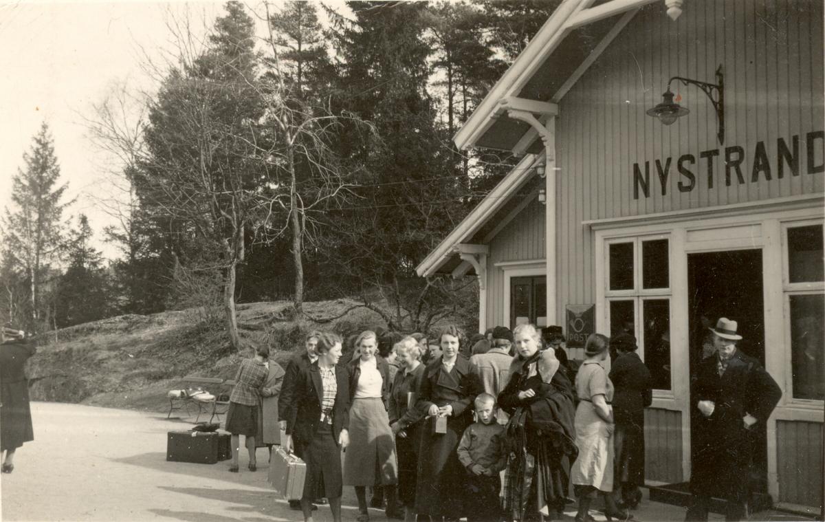 Frå Nystrand jernbanestasjon i Eidanger i Porsgrunn