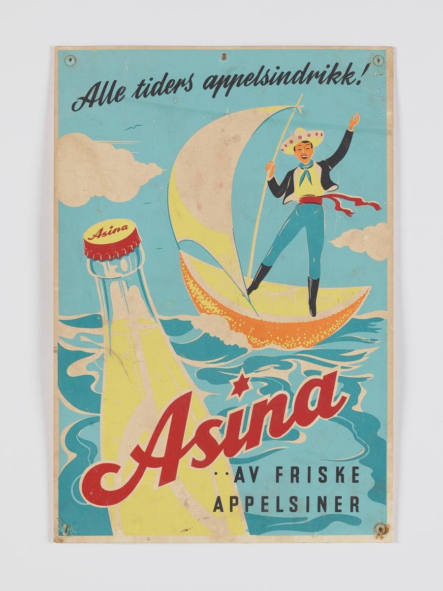 """glad og fornøyd, ja rett ut sagt jublende, """"meksikanerl"""" som seiler av sted i en appelsinbåt, været er flott og i forgrunnen dupper en flaske asina så fristende...."""