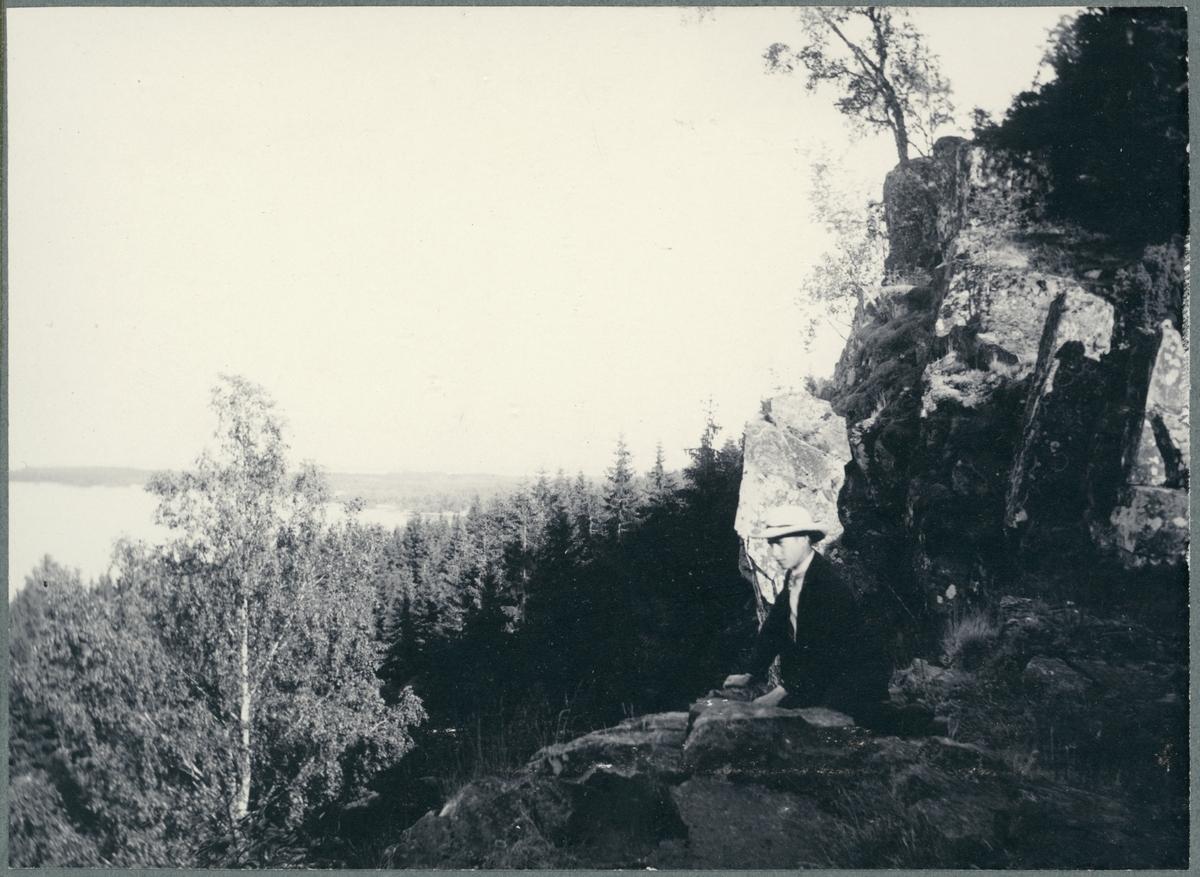 Halleberg. Utsikt mot sydost från avsatsen vid Svallkleven