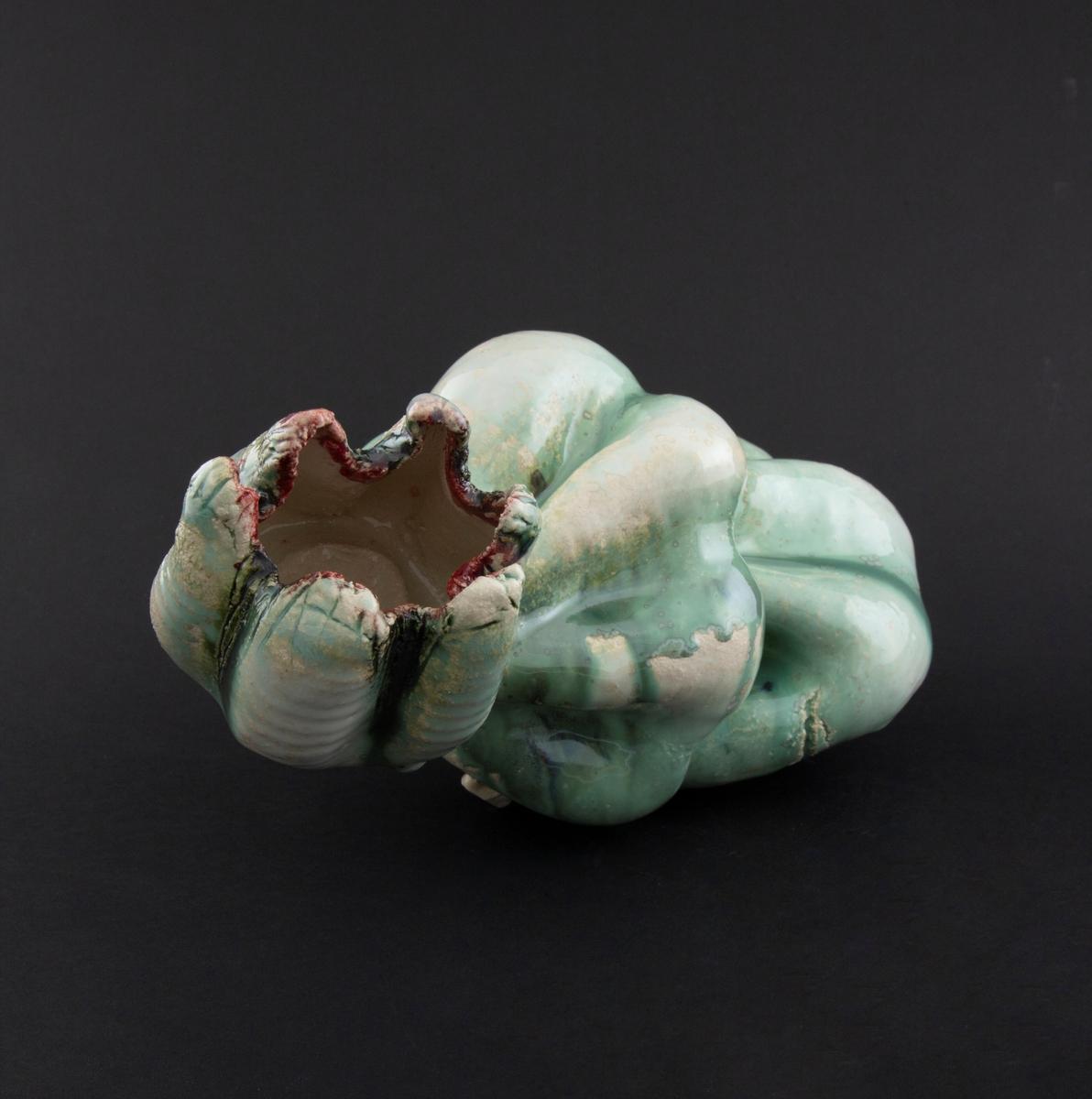 Håndmodellert skulptur i glasert steingods i nesten liggende positur. Den har en organisk og asymmetrisk kalebassform som ender i en tulipanform med halvåpne kronblader. Keramikkskulpturen inngår i en installasjon bestående av 26 deler i ulike størrelser og med individuell utforming. De asymmetriske variasjonene gir et inntrykk av bevegelse, og den lett sykelige fargepaletten gir et uhyggelig og grotesk preg. Samtlige deler minner om kjøttetende planter.