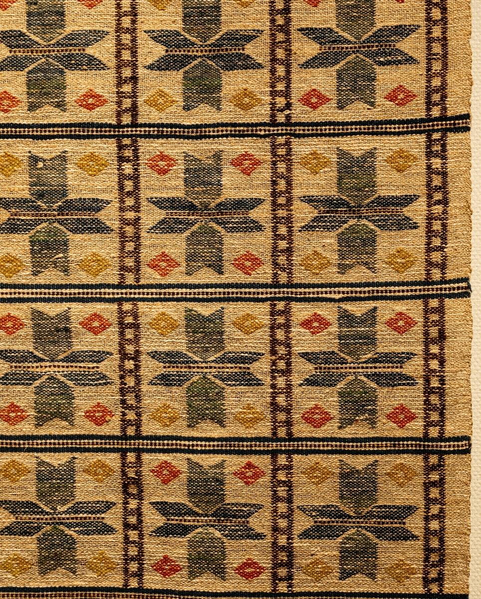 """Duk, inplockat mönster, 190 x 141, """"Element"""". Varp och väft grått, halvblekt lingarn. Indelningen i blått och i brunt; stora stjärnor i grönt och blått, mindre i gulgrönt och rött. Flätad frans på kortsidorna. Före 1919. Sign. M.M.F. Äldre katalogisering av Elisabeth Thorman (enl. uppgift).  Längd: 190 cm          Bredd: 134 cm exkl. frans Fransens längd: ca 15 cm Varp: 4 tr/cm            Inslag: ca 6/cm Varp 2 tr grågult, oblekt lingarn, inslag vitt och grågult, oblekt lingarn, mörkbrunt, brunt, mörkblått, blått, blågrönt, rödgult, rött, gult, grönblått och grönt ullgarn, inplock på linnebotten, MMF-teknik. 10 tvärränder jämnt fördelade över väven bestående av en blå tvärrand på var sida om en tvistrand i brunt och grågult, oblekt. Tvärränderna sammanbinds på flera ställen av två bruna parallella längsgående ränder sammanbundna med tvärränder i brunt, i rutorna som bildas en 8-uddig stjärna i melerat blått/grönt i rutornas hörn en romb i rödgult eller gult, vid kortsidorna en tvärgående zick-zack rand i brunt, därom romber i rödgult, gult och blått, grågul, oblekt botten. Vävnaden avslutas med drejad frans av varpen.  Vid ena hörnet invävd signatur MMF i brunt ullgarn.  Ett ca 14 cm brett vitt tygstycke i bomull, tuskaft, fastsydd på avigsidan längs ena kortsidan.  Ulla-Britta Sandström april 1980."""