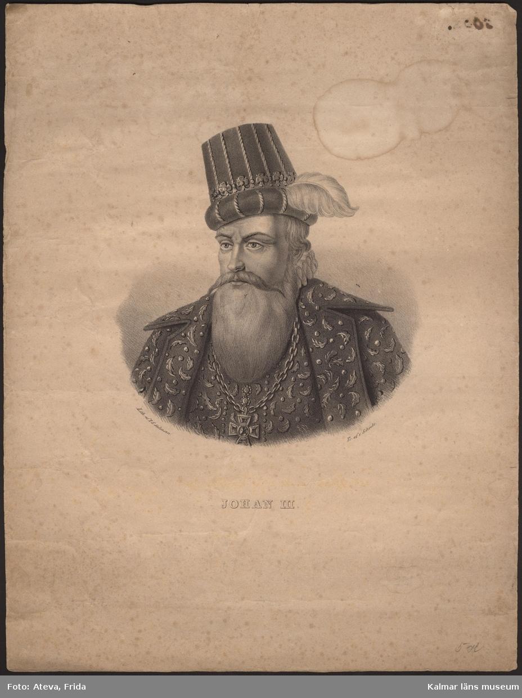 KLM 4949. Litografi. Porträtt. Motiv med Johan III.  Text under motivet: Lith af I. S. Salmson, Tr af v Schéele.