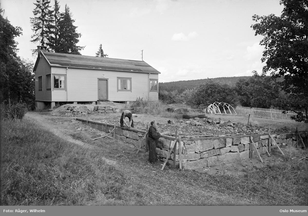 Murerforbundets feriehjem, hytte, muring, grunnmur, menn