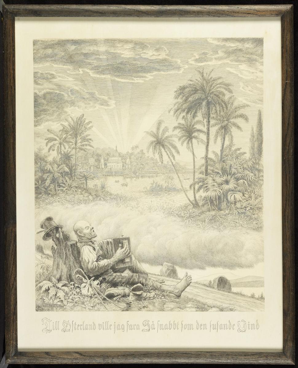 Landstryker sittende v. vei, trekkspill; i skyene palmer, vann, eksotiske bygninger.