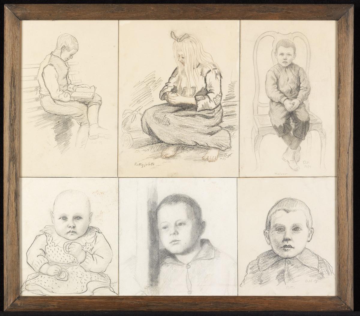 """Ned.tilv. 1) lite barn, sittende, m. kaker, skr. """"O.V:-23""""; 2) gutt, brystb., lenet til stokk; 3) gutt, brystb., frontal, skr.""""Petter, O.V.19""""; 4) øv.tilv. gutt, sittende, lesende, høyreprof.; 5) pike, sittende på tømmerstokk, skr.""""Fattigjente, O.V.-15""""; 6) gutt sittende på stol, skr.""""Halvor, O.V.1929"""""""