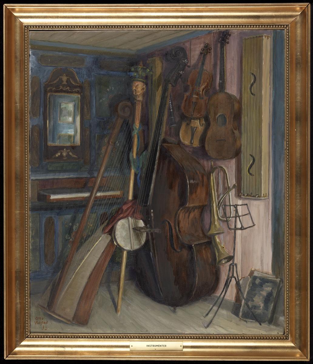 Interiør, musikkinstrumenter, orgel, harpe, bass, fiolin etc., speil, rosa panel