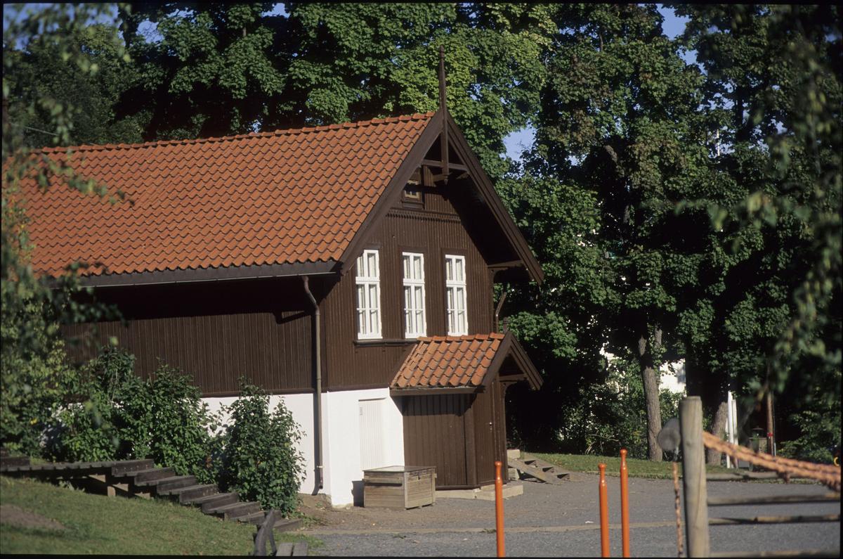 Del av Evje skole, Bærum, med uteområde, grøntområde.