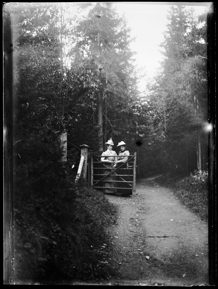To damer ved en port i skogen.