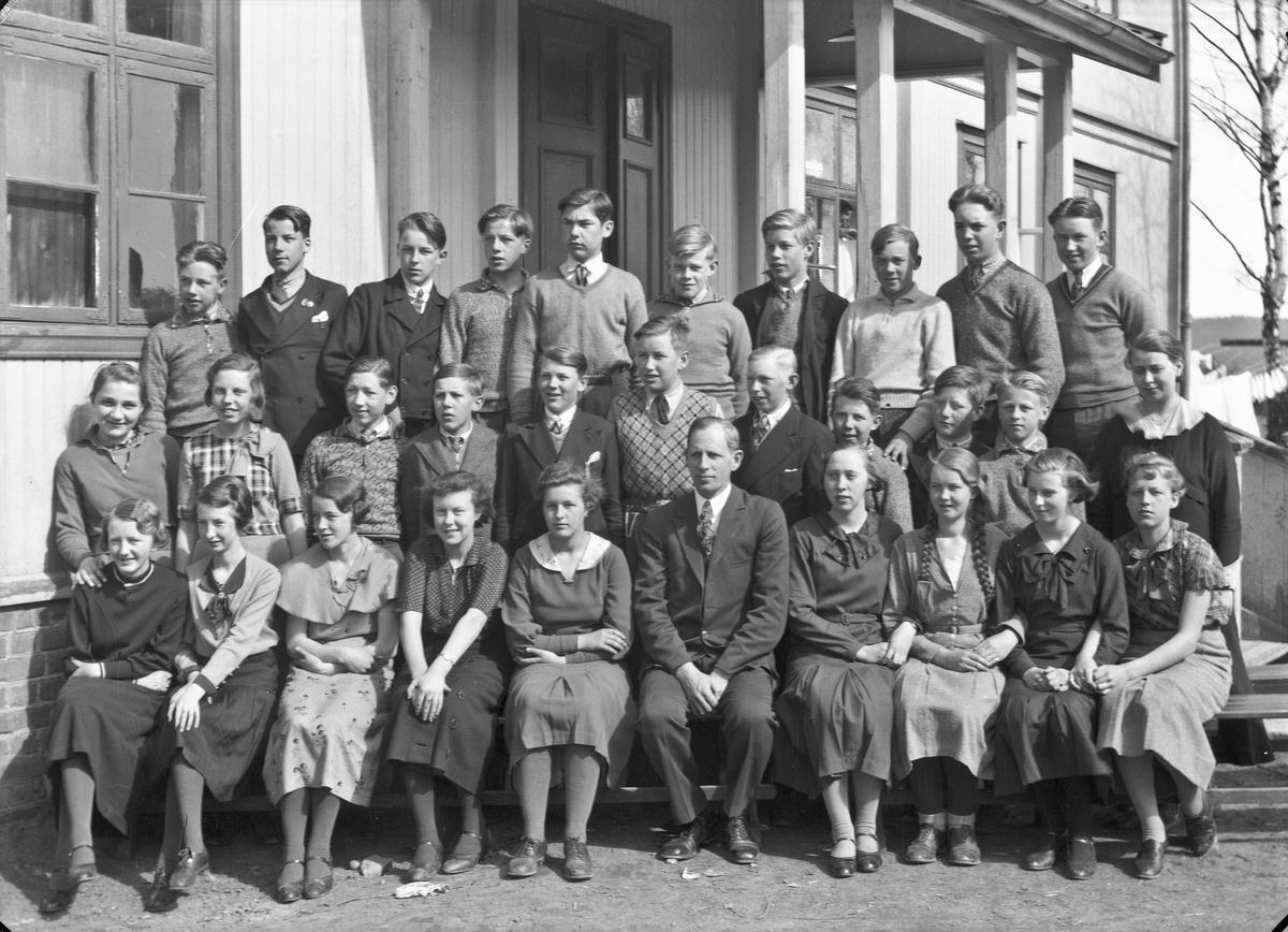 Otto Nordheim, framhaldsskolelærer på Råholt framhaldsskole. Elever fra Sørbygda. Bildet er mest sannsynlig tatt like før krigen. Bildet er da tatt på Tingvoll fordi skolen holdt til der fram til krigen. Til venstre for Nordheim sitter Eva Amundsen.