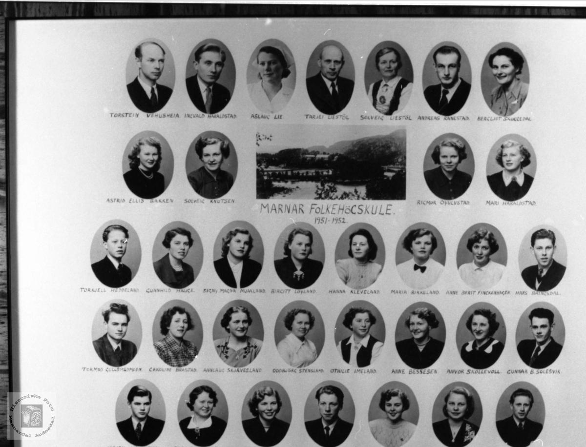 Marnar Folkehøgskole 1951-1952. Øyslebø