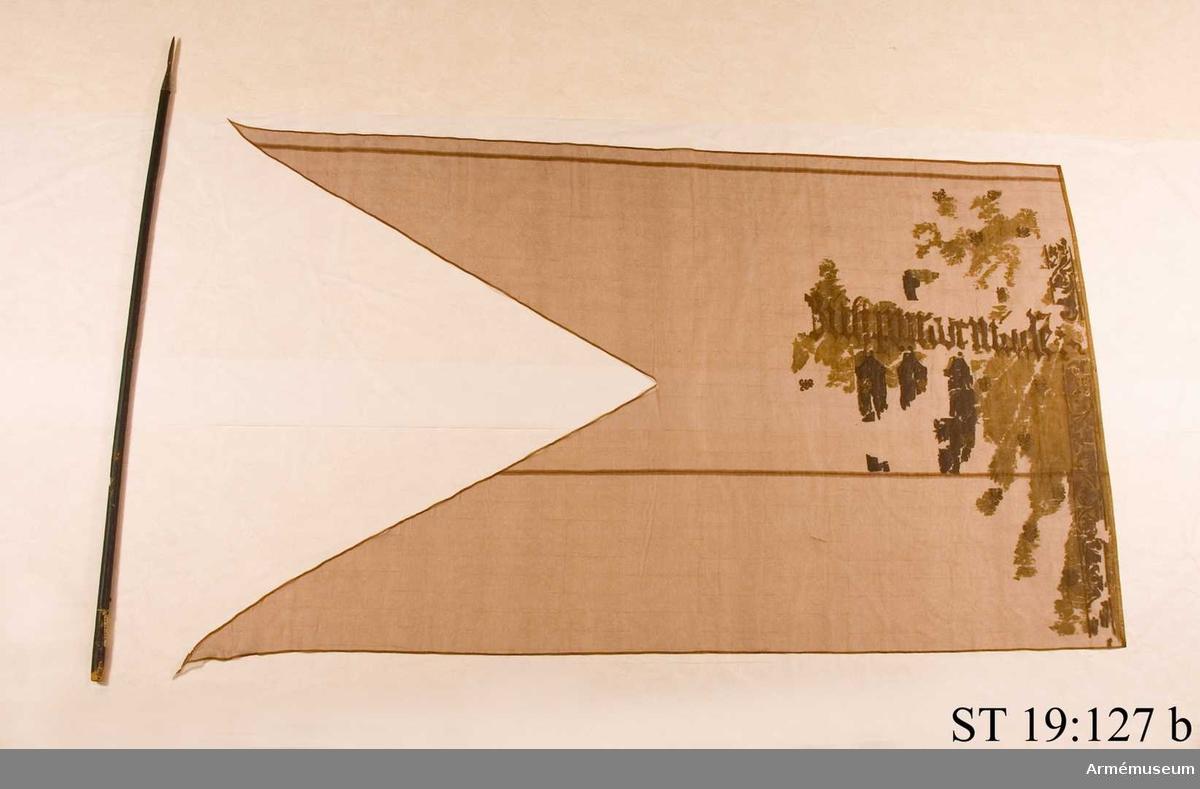 Fragmentarisk. Urskiljbara spår av devis syns på den konserverade duken. Duk av sidentaft som ursprungligen varit röd. Vapnet för Staré Mesto - gamla staden-  målat på duken. Hela dukens yta är beströdd med schablonmålade liljor och på stångsidan en bård av växtrankor. Ursprungligen fanns också en kalk målad över inskriften som symboliserade den hussitiska rörelsen i Böhmen. Mot flygsidan fanns också en halvmåne med strålar. Inskriftens bokstavstyp - gotisk minuskel - daterar fanan till ca 1530.