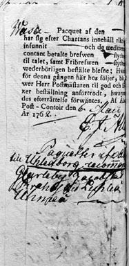 I en samling tryck med ryggtitel Kollegiers myndigheters bref 1761 - 1770.  I Generalpoststyrelsens bibliotek.  Foton 11/2 1960.  Kartans baksida.
