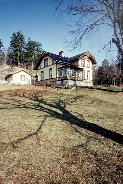 Frednes. Hus i sveitserstil.  Landsted ved Longumvannet. Hus med stor have.