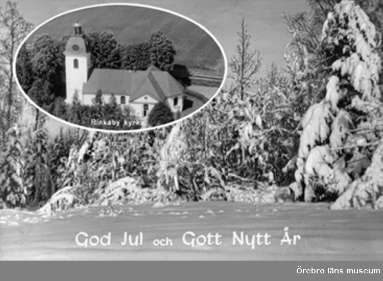 Rinkaby kyrka, exteriör.Bilden tagen för jul- och nyårskort (text: God Jul och Gott Nytt År).