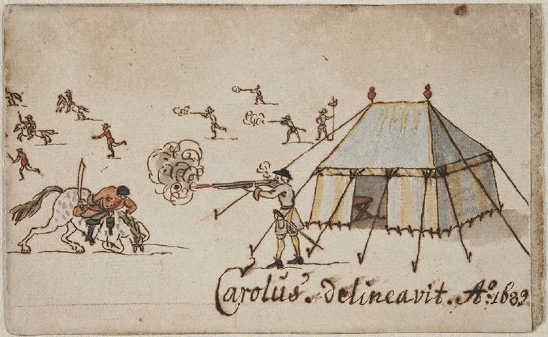 Tegning som forestiller soldater i krig. Foto/Photo