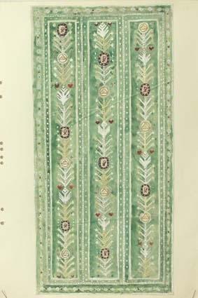 """Elva skisser med förslag till flossamatta eller tät rya till Växjö Domkyrka. GHKL 4099:1 Förslag till flossamatta till Växjö Domkyrka 210 x 410 cm """"Livets träd"""".Skisstorlek ca 21 x 41 cm, skala 1:10. Skissen är märkt med Förslag I.Till höger på skissen står de olika symbolernas betydelse.Formgivare Kerstin Butler.GHKL 4099:2 Förslag till flossamatta till Växjö Domkyrka 2,10 x 4,10 m.Skisstorlek ca 21 x 41 cm, skala 1:10. Skissen är märkt med Förslag II.Formgivare Kerstin Butler.GHKL 4099:3Förslag till flossamatta till Växjö Domkyrka 210 x 410 cm.Skisstorlek ca 21 x 41 cm, skala 1:10. Skissen är märkt med Förslag III.Till höger på skissen står de olika symbolernas betydelse.Formgivare Irma Kronlund.GHKL 4099:4Förslag till flossamatta till Växjö Domkyrka 210 x 410 cm.Skisstorlek ca 21 x 41 cm, skala 1:10. Skissen är märkt med nr I.Till höger på skissen finns måtten på trappsteg.GHKL 4099:5Förslag till flossamatta till Växjö Domkyrka 210 x 410 cm.Skisstorlek ca 21 x 41 cm, skala 1:10. Skissen är märkt med nr III.Till höger på skissen finns måtten på trappsteg.GHKL 4099:6Förslag till flossamatta till Växjö Domkyrka 210 x 410 cm.Skisstorlek ca 21 x 41 cm, skala 1:10. Skissen är märkt med nr IV.Till höger på skissen finns måtten på trappsteg.GHKL 4099:7Förslag till matta i flossa eller tät rya till Växjö Domkyrka 2,10 x 4,10 m.Skisstorlek ca 21 x 41 cm, skala 1:10. Följande prisangivelse finns på skissen: Flossa 280 kr pr kvm, tät rya 210 kr pr kvm. 2,10 x 4,10 = 8,61 kvm. Flossa = 2410 kr, tät rya = 1808 kr.Formgivare Kerstin Butler.GHKL 4099:8Förslag till matta i flossa eller tät rya till Växjö Domkyrka 2,10 x 4,10 m.Skisstorlek ca 21 x 41 cm, skala 1:10. Följande prisangivelse finns på skissen: Flossa 280 kr pr kvm, tät rya 210 kr pr kvm. 2,10 x 4,10 = 8,61 kvm. Flossa = 2410 kr, tät rya = 1808 kr.Formgivare Kerstin Butler.GHKL 4099:9Förslag till matta i flossa eller tät rya till Växjö Domkyrka 2,10 x 4,10 m.Skisstorlek ca 21 x 41 cm, skala 1:10. Följande prisangivelse"""