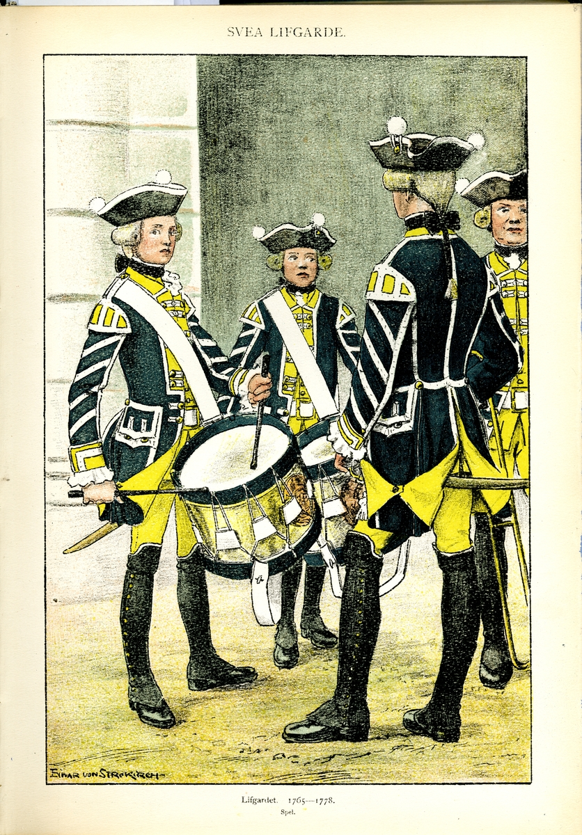 Plansch med uniform för spel vid Svea livgarde för åren 1765-1778, ritad av Einar von Strokirch. Ingår i planschsamlingen Svenska arméns munderingar 1680-1905.