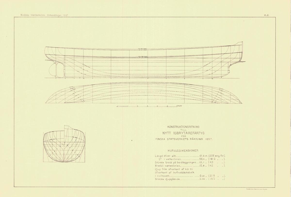 Konstruktionsritning i profil, plan med linjer och spantruta