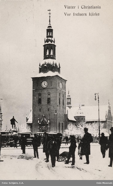 torg, mennesker, Vår Frelsers kirke, snø