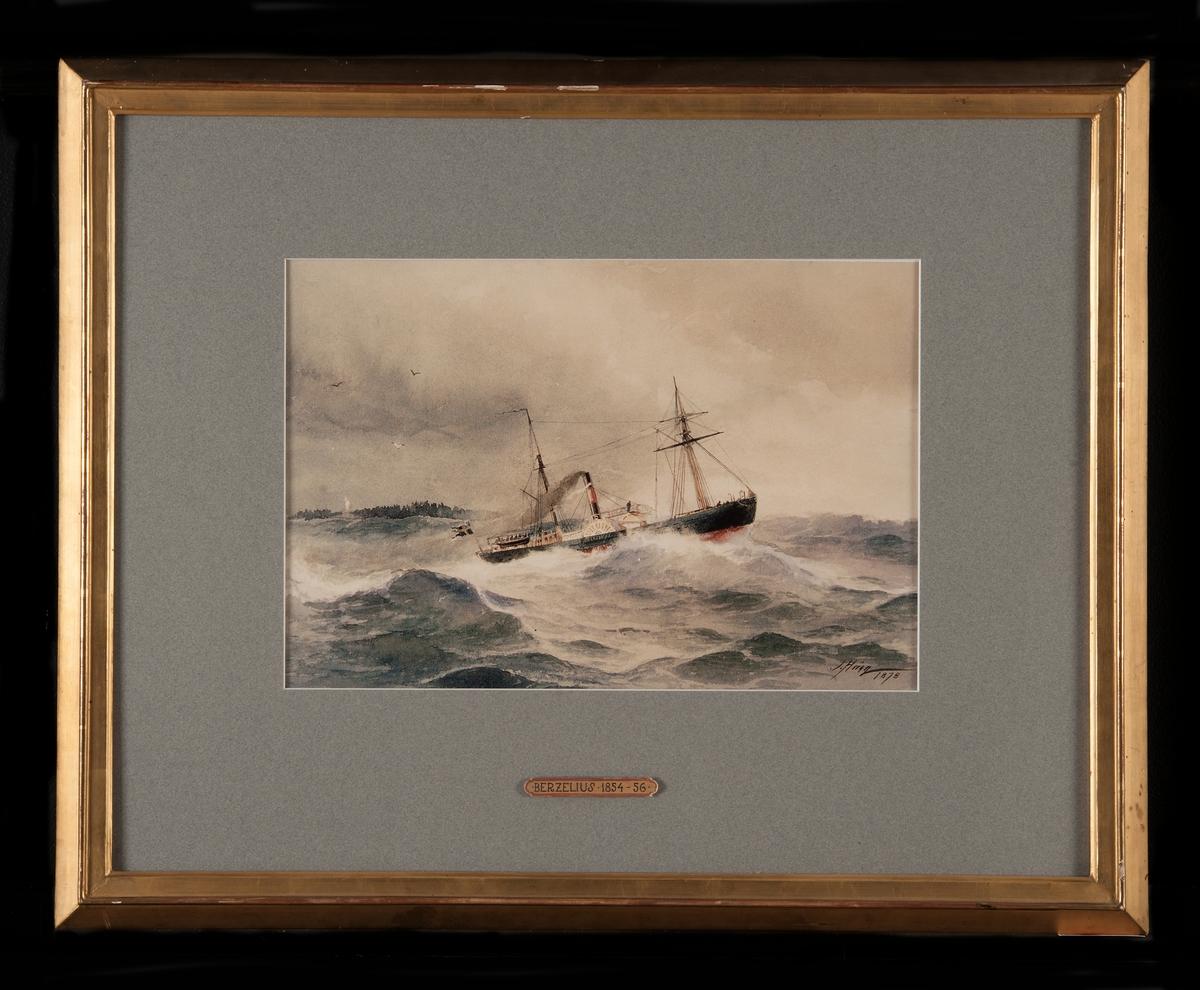 Hjulångfartyget BERZELIUS i hög sjö, visande styrbords sida, målad mörk och med röd botten. Svart skorsten med rött band. Akter om babord, mindre ö.